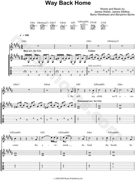 starsailor quot way back home quot guitar tab in g minor