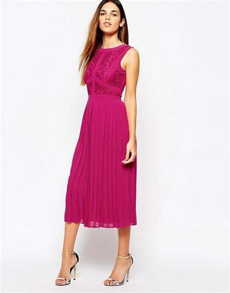 warehouse warehouse lace pleated midi dress