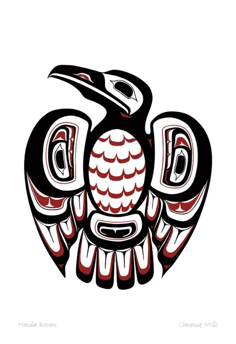haida raven by clarence mills native canadian graphic