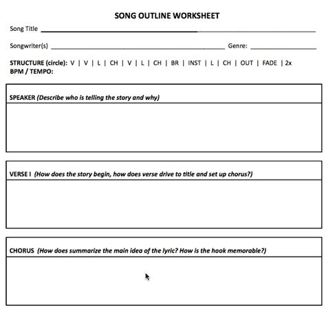 lyric writing template songwriting worksheet outlines to songs songchops