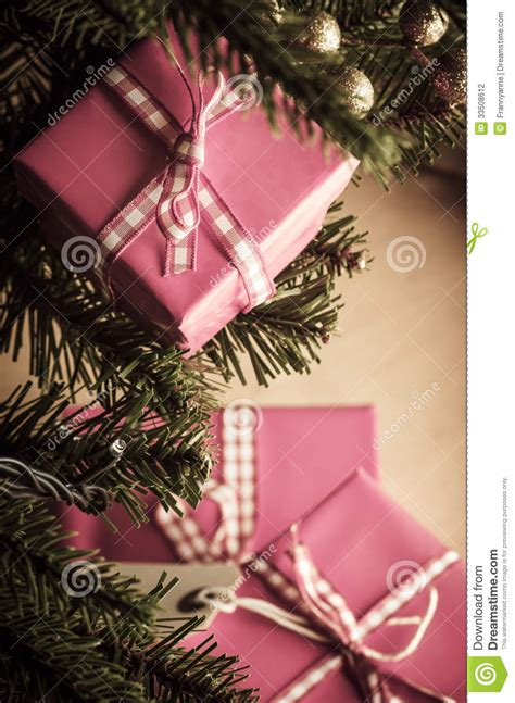 christmas gifts in pink wrapping stock photo image 33508612