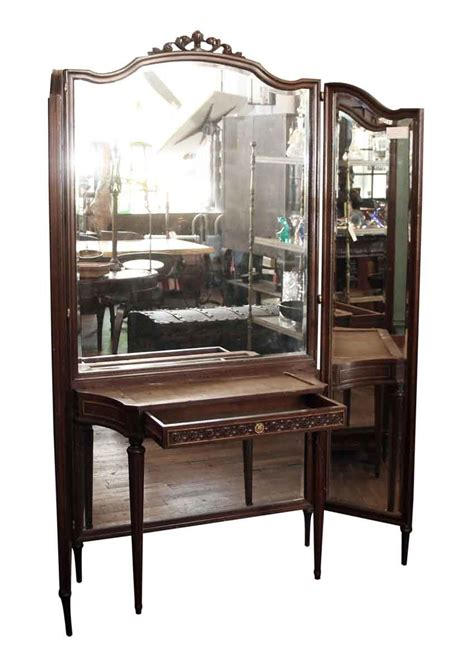 wood bedroom vanity tri fold mirror wood vanity table olde good things