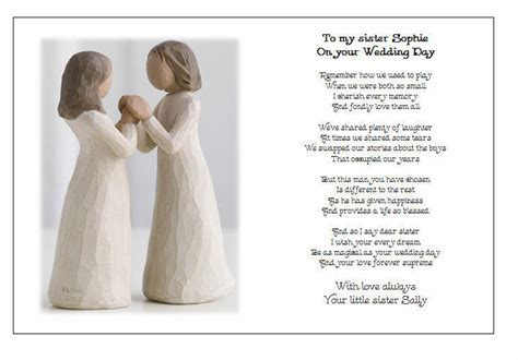 Personalised Wedding Day Poem Gift   TO MY SISTER on your