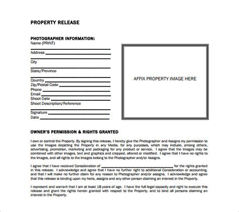 Photography Property Release Form Template