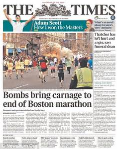 boston explosions front pages of newspapers across the
