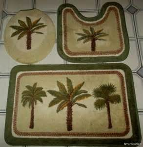 Palm Tree Bathroom Rug 3 Pc Palm Tree Bathroom Set Bath Mat Carpet Contour Rug Toilet Lid Cover Ebay