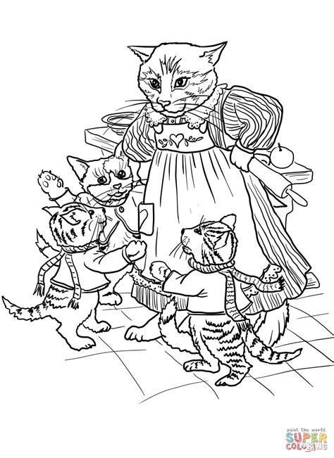 three little kittens coloring page 3 little kittens have lost their mittens coloring page