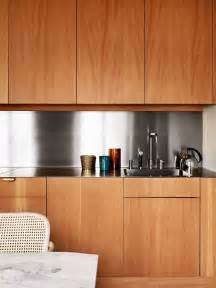 Stainless Steel Kitchen Cabinet Doors Neat And Clean Stainless Steel Back Splash Accents Sleek Cabinet Doors Without Handles Modern