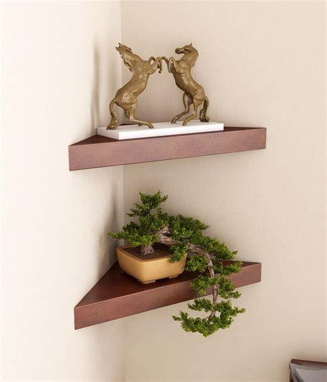 Corner Wall Shelf Wood by Home Sparkle Brown Wood Corner Wall Shelves Buy 1 Shelf