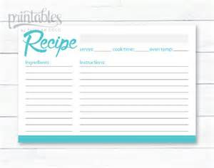 Editable recipe card blue green printable 4x6 recipe cards instant