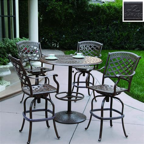 Patio Furniture Bar Height Set Shop Darlee 5 Sedona Cushioned Cast Aluminum Patio Bar Height Set At Lowes