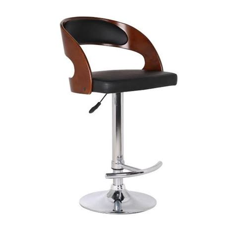 Overstock Bar Stools Black by Wood And Black Faux Leather Adjustable Swivel Bar Stool