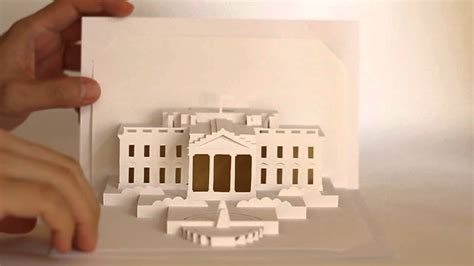 Free Template Of White House Pop Up Card by Origamic Architecture White House Refined Version