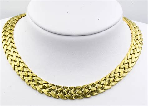pattern of gold necklace bold yellow gold zig zag pattern necklace for sale at 1stdibs