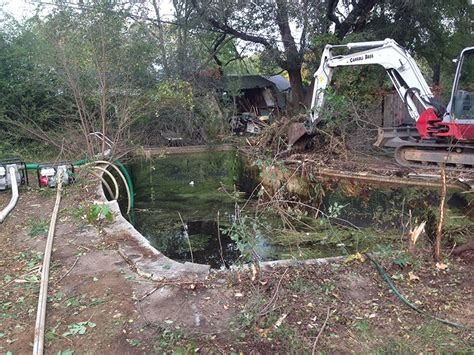 overgrown backyard pool removal carroll bros contracting
