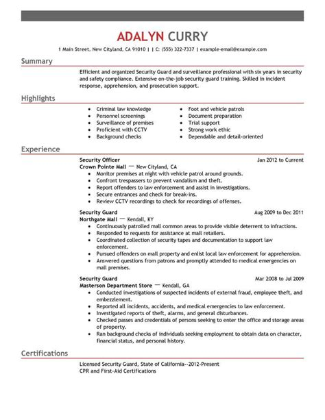security officer sample resume security guard resume template