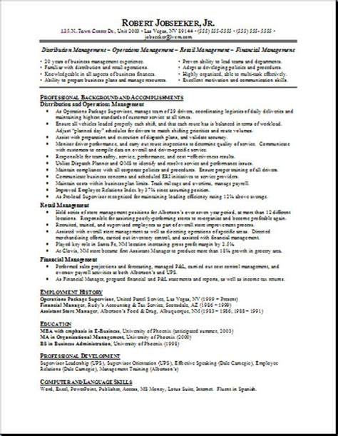 Resume Objective Exles Functional Resume Free Resumes