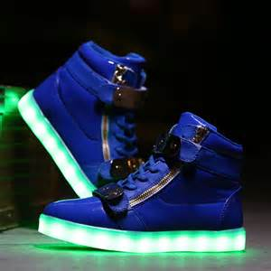 light up big led light up shoes cotton blue low top sale