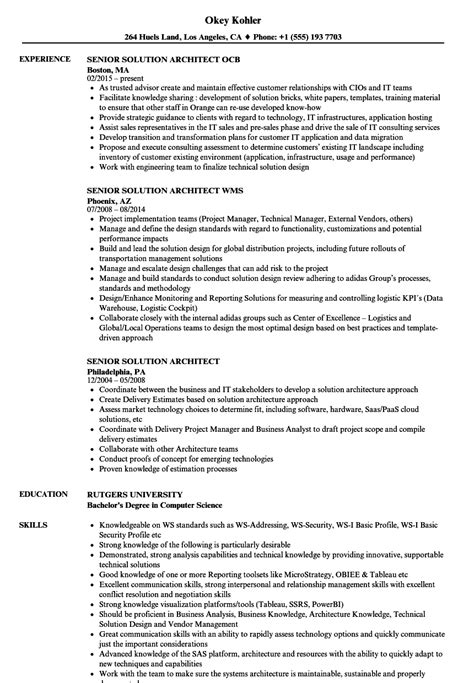 Solution Architect Resume by Senior Solution Architect Resume Sles Velvet