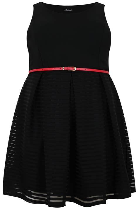 black mesh stripe skater dress with belt plus size 14