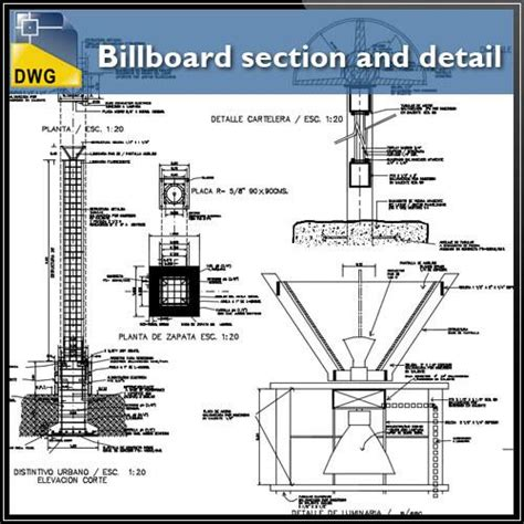 section dwg billboard section and detail in autocad dwg files cad