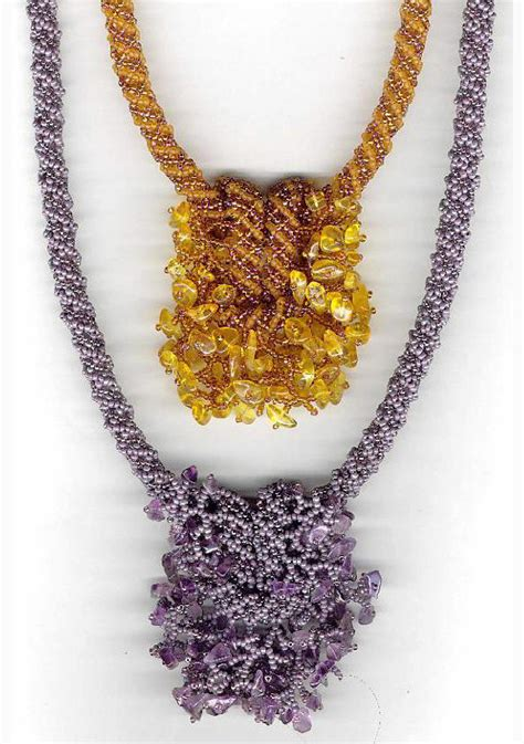 beading tutorial seed beaded knot gemstones necklace pattern