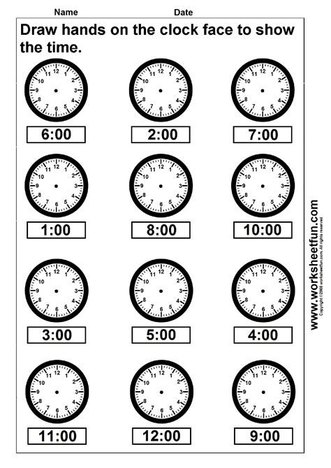 printable clocks to the hour time draw hands on the clock face 4 worksheets free