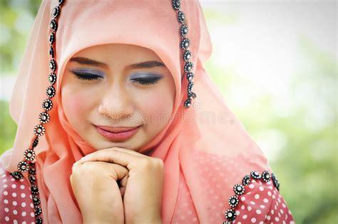 muslim pink beautiful muslim pink wearing fashion stock