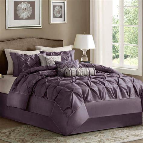 king size bedding comforter set  piece purple luxury sheets bedskirt laurel  ebay