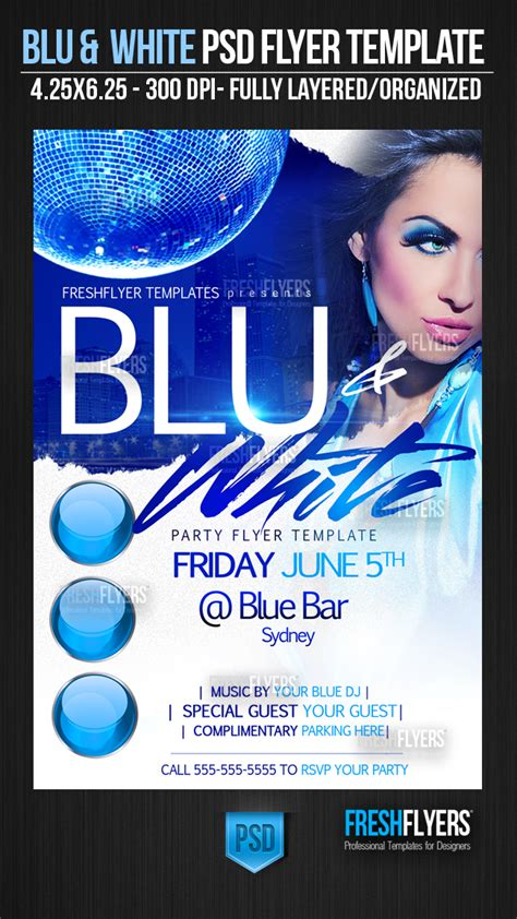 Blue And White Party Flyer Template By Imperialflyers On Deviantart Blue Flyer Template