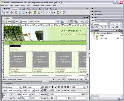 Dreamweaver Layout Templates by Dreamweaver Insert Layout Table Template