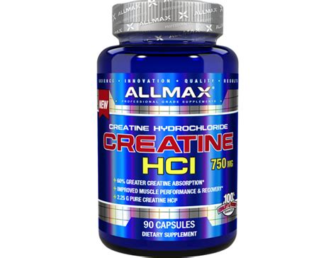 creatine 750mg creatine hcl 750mg 90 caps allmax nutrition