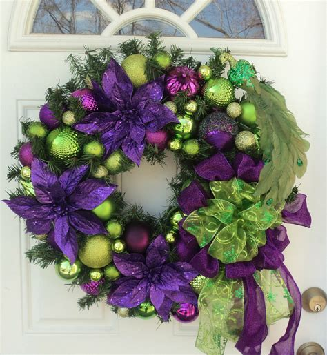 wreath decorations peacock purple lime green christmas wreath home decor purple