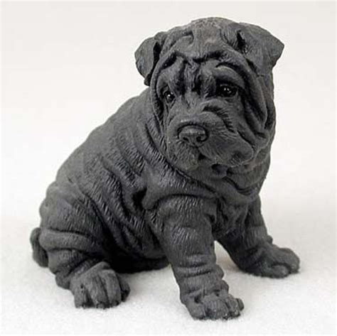 black shar pei puppy shar pei painted collectible figurine black