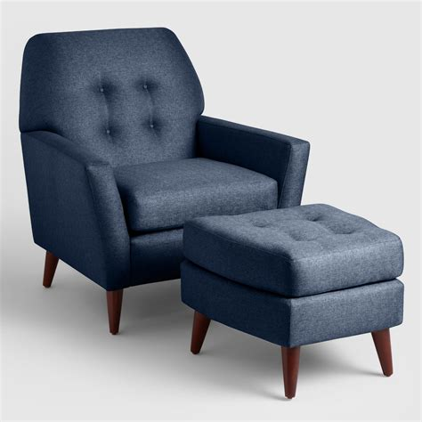 Midnight Blue Tufted Arlo Chair And Ottoman Set Market