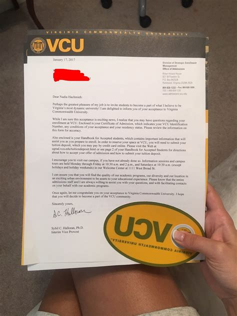 Acceptance Letters For Vcu Vcu Welcome Week Vcuwelcomeweek