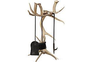 deer antler fireplace tools
