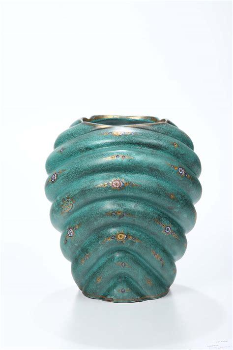 vaso deruta grande vaso in ceramica di deruta dipinto in verde decoro