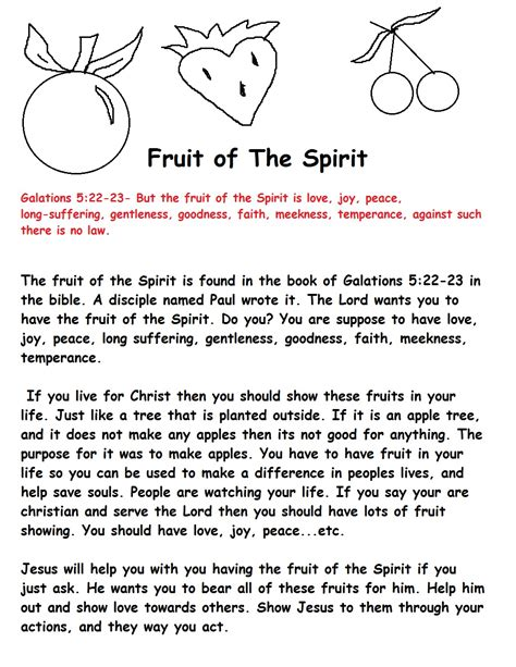 printable toddler sunday school lessons fruit of the spirit sunday school lesson