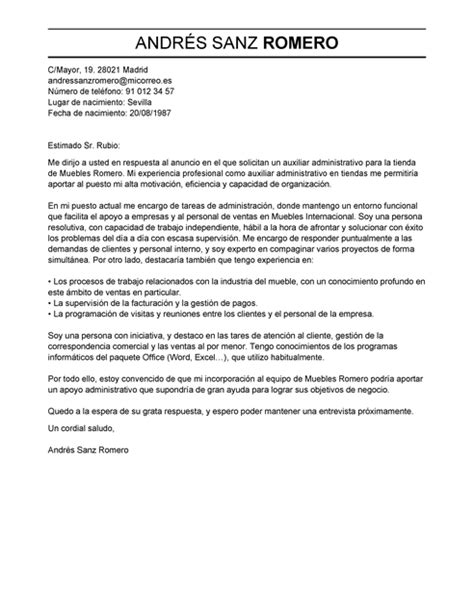Modelo Curriculum Tcp Modelo De Carta De Presentaci 243 N Auxiliar Administrativo Auxiliar Administrativo Ejemplo