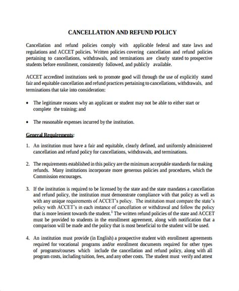 9 Cancellation Policy Templates Pdf Sle Templates Return Policy Template