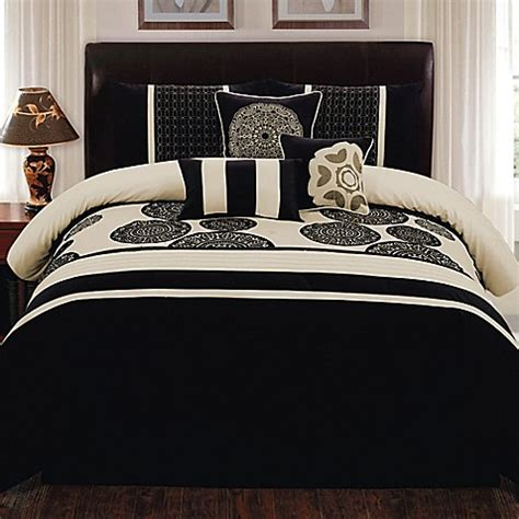 black and ivory bedding biatta 7 piece comforter set in black ivory bed bath