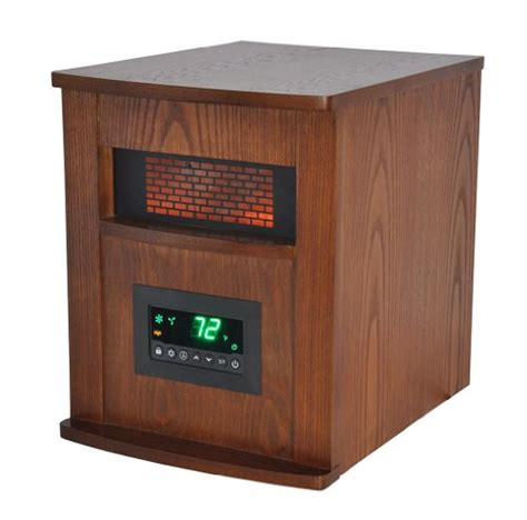 large room heaters lifesmart 6 element large room infrared quartz heater w wood cab