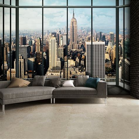 wall mural new york new york city window effect skyline wall mural 315cm x 232cm