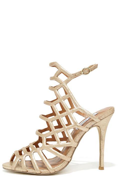 Steve Madden Skales Gold Steve Madden Caged Heels Sepatu Branded steve madden slithur gold heels leather heels 109 00