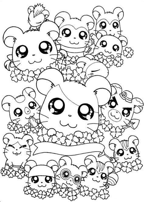 cute anime animals coloring pages hamtaro cute animals coloring pages