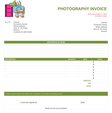 5 Photography Invoice Templates To Make Quick Invoices Photography Invoice Template