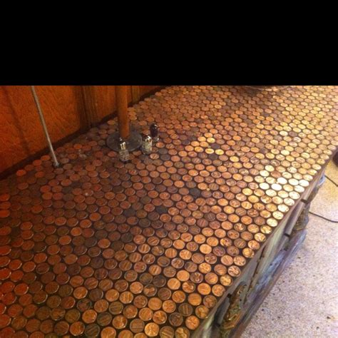 penny bar top the penny tile topped bar upcycled awesomeness pinterest