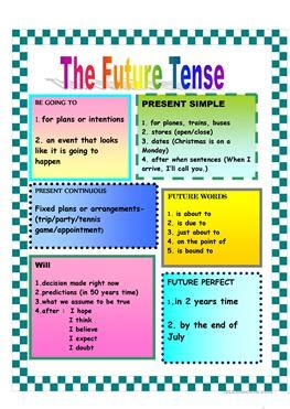 9 free esl future tense chart worksheets