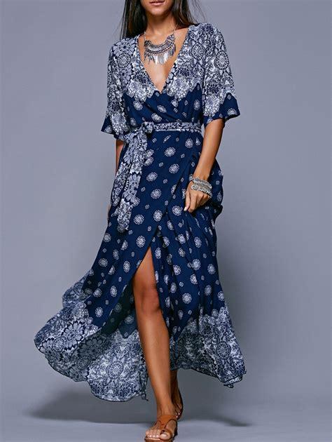 Bohemia Dress maxi dresses purplish blue bohemian style high slit tie